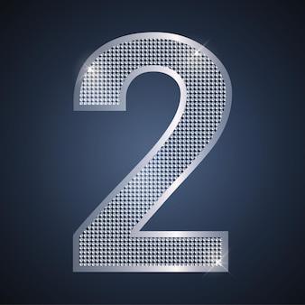 Vector plata número dos brillante número 2 para celebración de aniversario o cumpleaños de segundo año