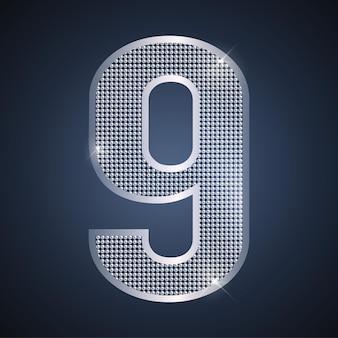 Vector plata número nueve brillante número 9 para celebración de aniversario o cumpleaños de noveno año