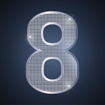 Vector plata número ocho brillante número 8 para celebración de aniversario o cumpleaños de octavo año