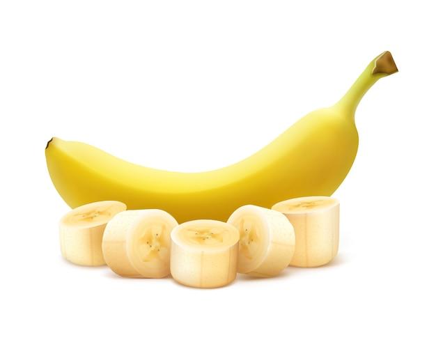 Vector de plátano amarillo maduro entero y picado aislado sobre fondo blanco