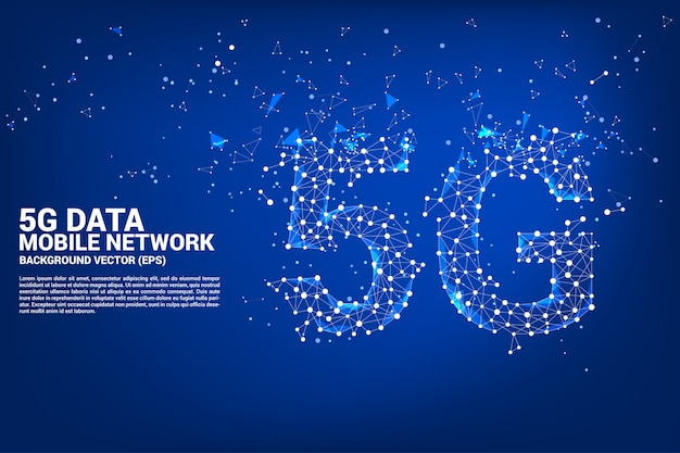 Vector polygon dot connect línea 5g en red móvil
