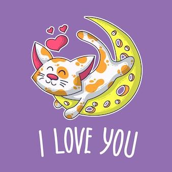 Vector postal sobre gato enamorado