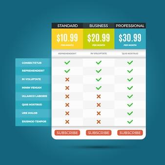 Vector de precios de planes de negocios para sitios web y aplicaciones.