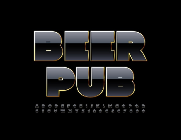 Vector premium logo beer pub shiny black and gold font conjunto de letras y números del alfabeto moderno