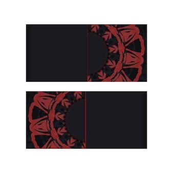 Vector preparación de la tarjeta de invitación con lugar para el texto y los patrones. plantilla de vector para imprimir postales de diseño en colores negros con patrones griegos.