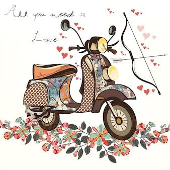 Vector de primavera linda mano falsa bicicleta dibujada