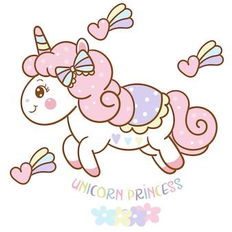 Vector de princesa unicornio lindo con dibujos animados de corazón