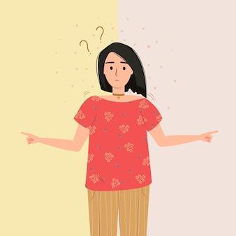 Vector de problema de duda de pensamiento de elección mujer dudosa reflexiva decisiones correctas e incorrectas
