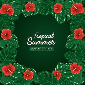 Vector promocional de la venta del fondo del verano tropical.