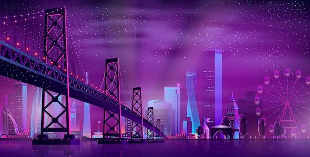 Vector puente articulado al parque de atracciones