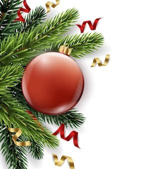 Vector rama de árbol de navidad con bola roja aislada en blanco la vista desde la parte superior