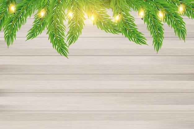 Vector de ramas de abeto y luces de navidad sobre fondo de madera cartel de banner de tarjeta de vacaciones de año nuevo