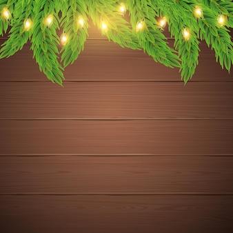 Vector de ramas de abeto y luces de navidad sobre fondo de madera marrón cartel de tarjeta de vacaciones de año nuevo
