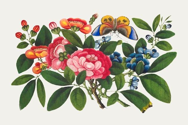 Vector de ramo de flores chinas vintage