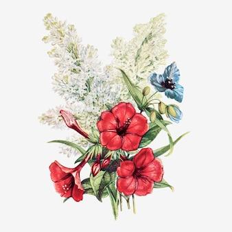 Vector de ramo de flores de verano vintage