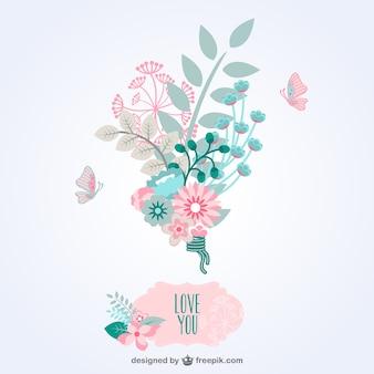 Vector con ramo de flores