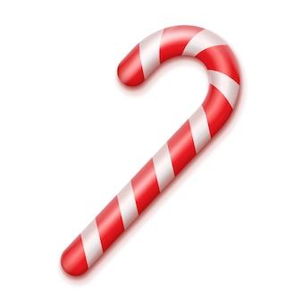 Vector rayado rojo y blanco bastón de caramelo de navidad cerrar vista superior aislada sobre fondo