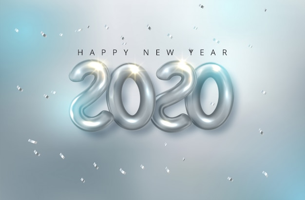 Vector realista 2020 globos en estilo 3d en color dorado. diseño de tarjeta de felicitación.