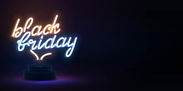 Vector realista aislado letrero de neón del texto del viernes negro