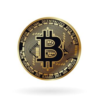 Vector realista bitcoin dorado.