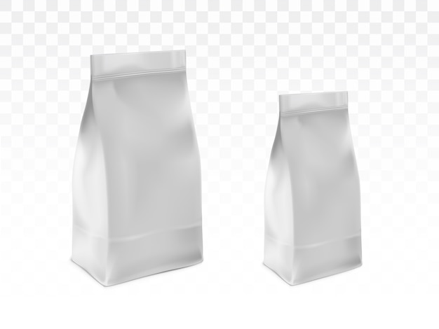 Vector realista en blanco blanco, bolsas de plástico selladas