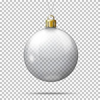 Vector realista bola de navidad transparente, sobre fondo a cuadros.