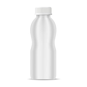 Vector realista botella de yogur. botella de leche