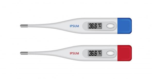 Vector realista celsius termómetro médico electrónico para medir.