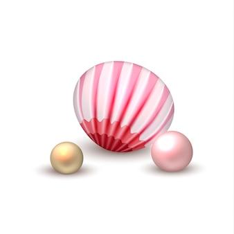 Vector realista concha con vacaciones de perlas