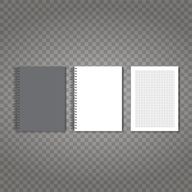 Vector realista conjunto de cuaderno