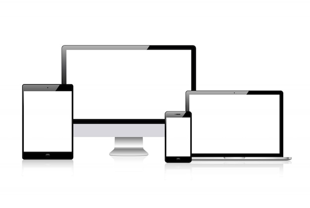 Vector realista conjunto de dispositivos: monitor de computadora portátil, tableta y plantilla de teléfono