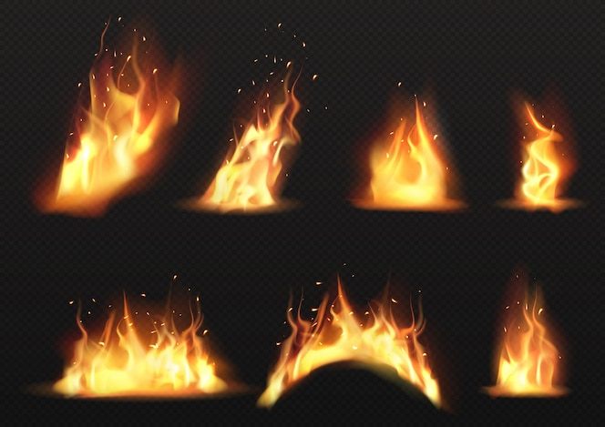 Vector realista conjunto de llamas de fuego ardiente