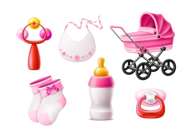 Vector realista conjunto de productos para bebés recién nacidos botella de leche rosa con chupete de pezón