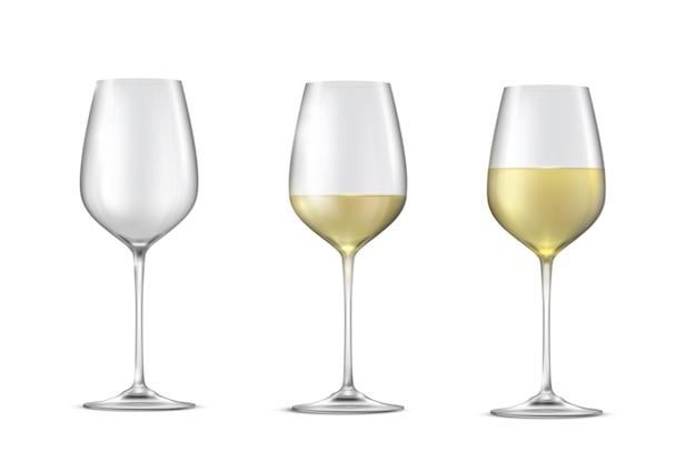 Vector realista conjunto de vasos con vino blanco