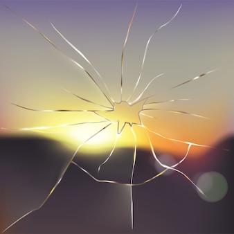 Vector realista de cristal de la ventana rota y agrietada