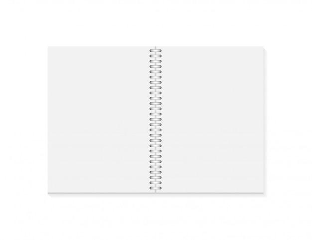 Vector realista cuaderno abierto. cuaderno vertical en blanco con espiral plateado metalizado.