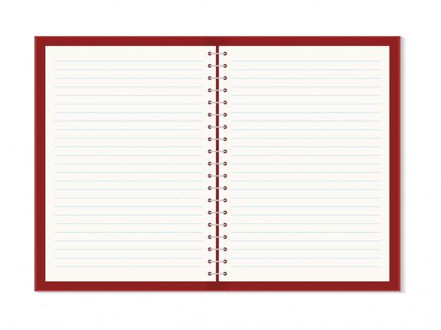 Vector realista cuaderno abierto con espiral de plata metálica.