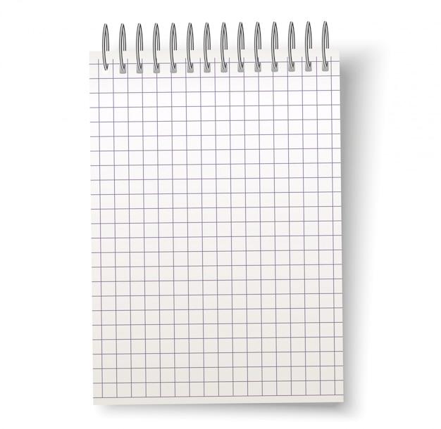 Vector realista cuaderno espiral en blanco con cuadrado