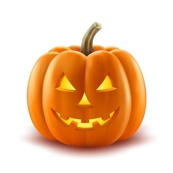 Vector realista de la linterna de halloween calabaza de miedo