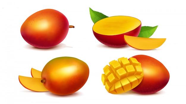 Vector realista entero y en rodajas de mango