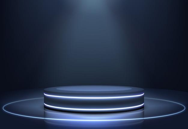 Vector realista de escenario de luces de neón iluminadas
