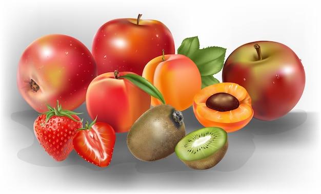 Vector realista de frutas