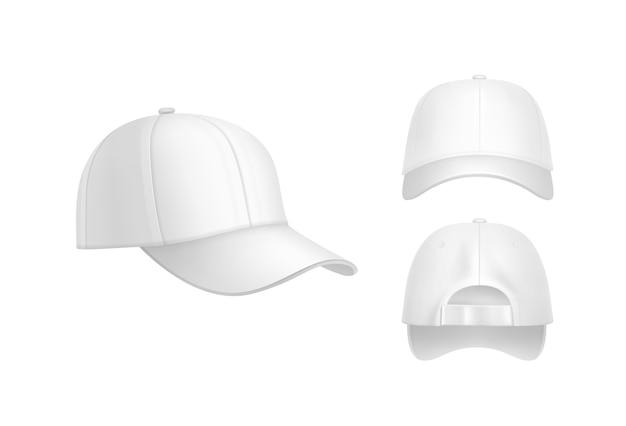 Vector realista gorra de béisbol blanca vista frontal, posterior y lateral aislada sobre fondo