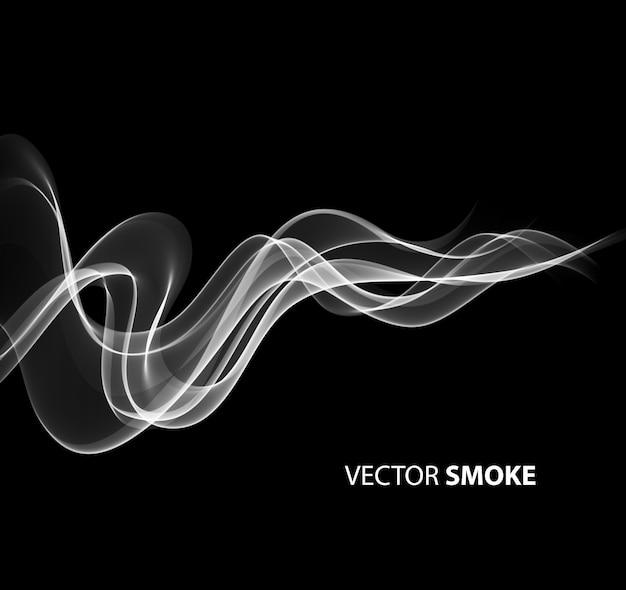 Vector realista humo sobre fondo negro