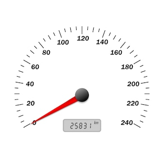 Vector realista interfaz de velocímetro de coche. panel de tablero