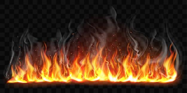 Vector realista llamas de fuego ardiente con humo