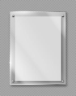 Vector realista de marco de vidrio de placa de metacrilato en blanco