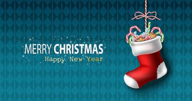 Vector realista navidad y año nuevo fondo banner flyer tarjeta de felicitación postal horizont