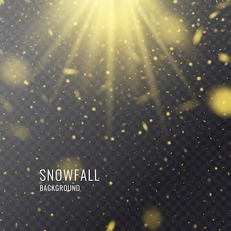 Vector realista nevada sobre un fondo oscuro. elementos transparentes para carteles y tarjetas de invierno.