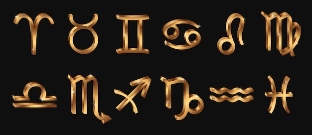 Vector realista de oro signos del zodíaco. símbolos del horóscopo 3d. brillantes iconos zodiacales de oro.